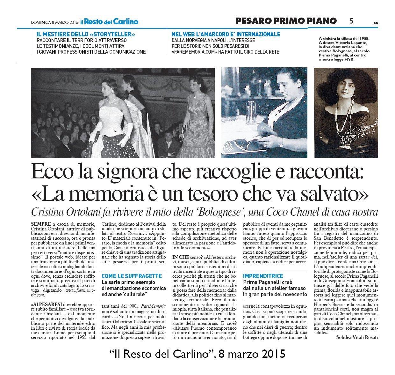 """""""Il Resto del Carlino"""" Pesaro, 8 marzo 2015"""