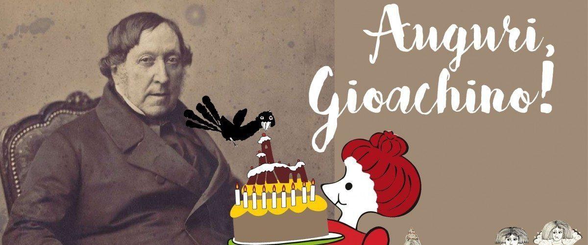 Gioachino Rossini - auguri - grafica C. Ortolani