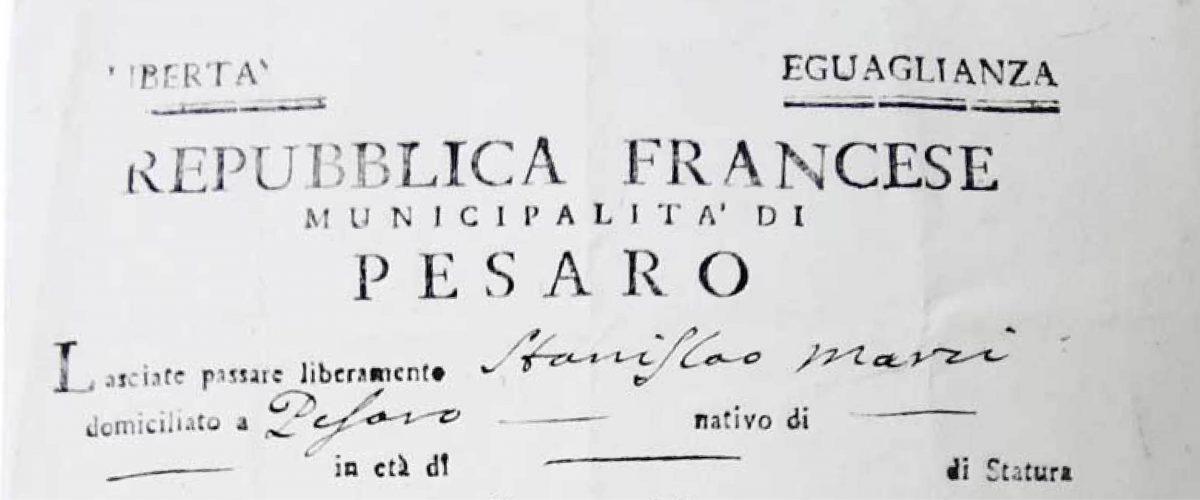 Pesaro lasciapassare 1797